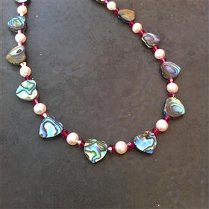 Paua, Freshwater Pearl & Coloured Swarovski Crystal Necklace