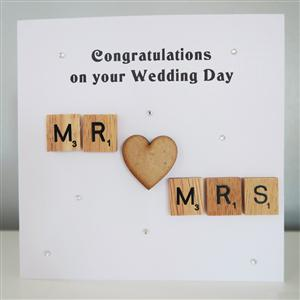 Scrabble Mr and Mrs Anniversary or Wedding Card