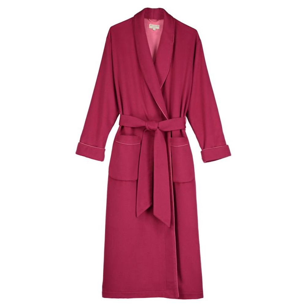 Ladies Cashmere Plain Silk-Lined Robe
