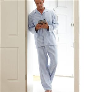 Brushed Cotton Tie Waist Mens Pyjamas