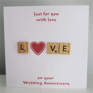 Scrabble 'Love' Engagement, Anniversary or Wedding Card