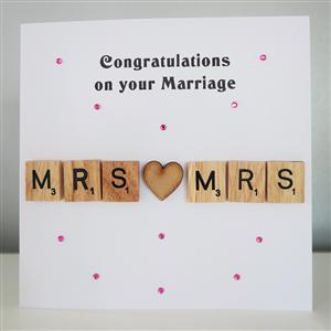 Scrabble Mrs & Mrs Anniversary or Wedding Card