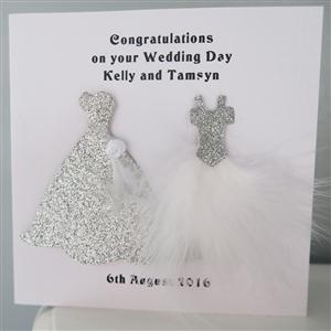 Mrs & Mrs Anniversary or Wedding Card Feather Dresses
