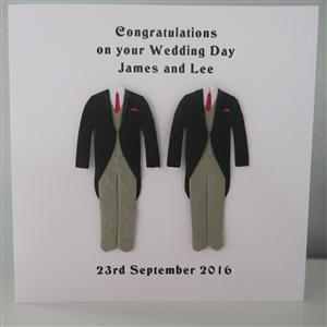 Mr & Mr Anniversary or Wedding Card Morning Suit Black Jacket