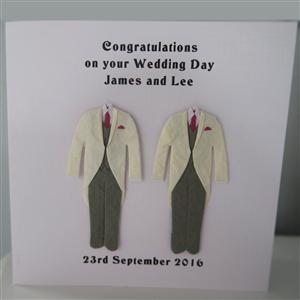 Mr & Mr Anniversary or Wedding Card Morning Suit White Jackets | MyGiftGenie