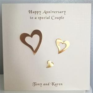 3 Golden Hearts Anniversary Card For Couples