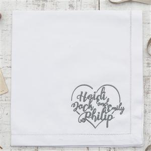 Set of 4 Personalised Heart Cotton Napkins