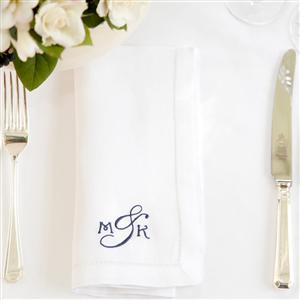 Set of 4 Monogrammed Cotton Napkins