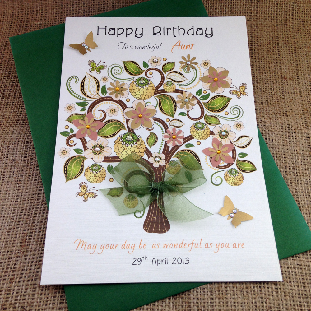 Green Tree Birthday Card For Her