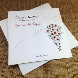 Personalised Ruby Bouquet Wedding Card | Wedding Cards | MyGiftGenie
