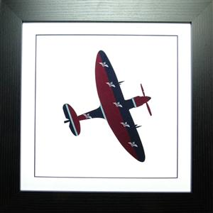 Framed Spitfire in RAF Pilot Tie Fabric