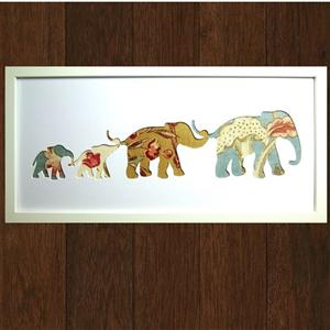 Framed Mulberry Fabric Elephant Family | Gifts Ideas | MyGiftGenie