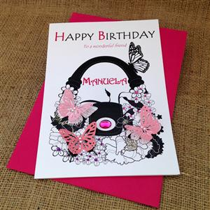 Butterfly Bag Birthday Card | Personalised Cards | MyGiftGenie