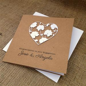 White Flower Heart Engagement Card | Personalised Cards | MyGiftGenie