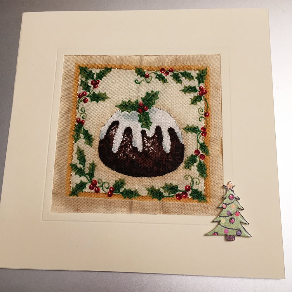 Christmas Pudding Quilted Card