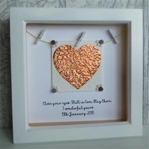 Personalised Framed Leather Heart | 3rd Anniversary | MyGiftGenie