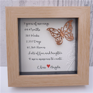 Personalised Framed Copper Butterflies | 7th Anniversary | MyGiftGenie