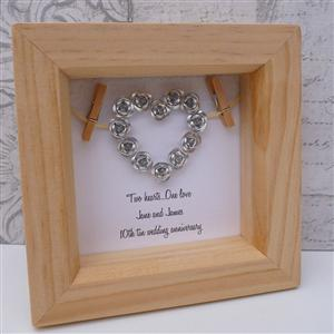 Personalised Framed Tin Heart | 10th Anniversary | MyGiftGenie
