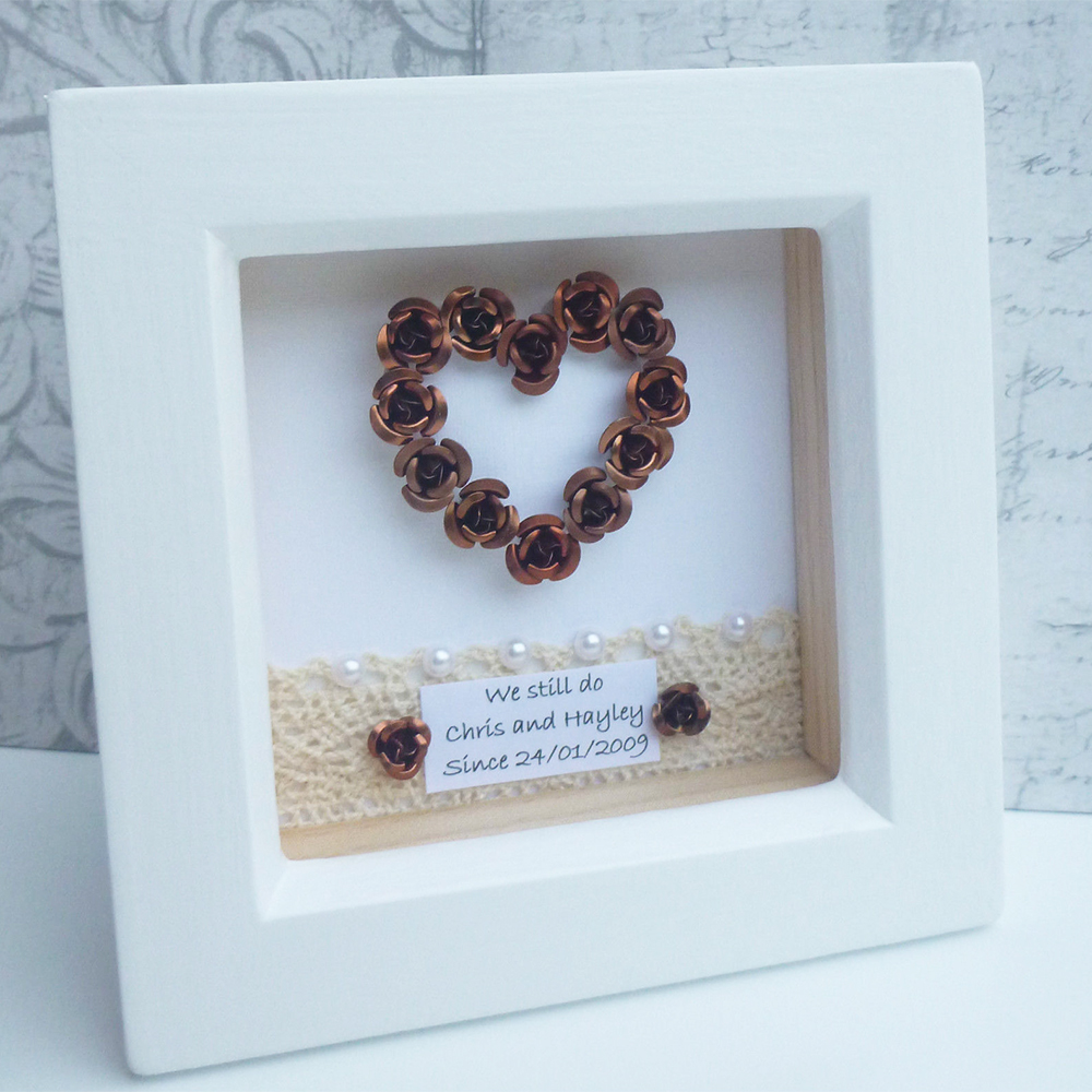 Personalised Framed Bronze Heart