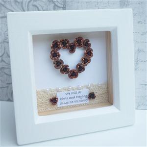 Personalised Framed Bronze Heart | 8th Anniversary | MyGiftGenie