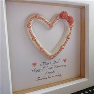 Personalised Framed Coral Heart | 35th Anniversary | MyGiftGenie