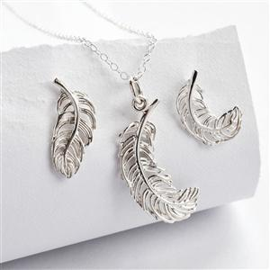 Silver Feather Jewellery Set With Stud Earrings | MyGiftGenie