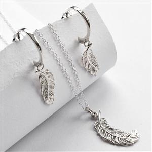 Silver Feather Jewellery Set With Hoop Earrings | MyGiftGenie