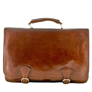 Personalised Soft Leather Briefcase Satchel | Gifts for Him | MyGiftGenie