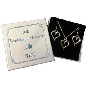 Tin Heart Pendant and Earrings | 10th Anniversary | MyGiftGenie