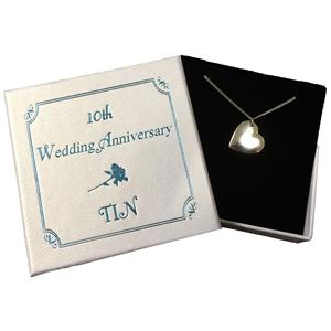 Slanted Tin Heart Necklace | 10th Anniversary | MyGiftGenie