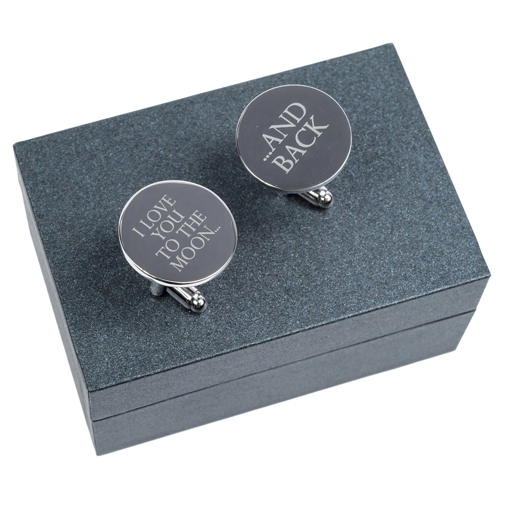 Silver Wedding Anniversary Gifts For Him: Moon & Back Silver Cufflinks