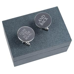 Moon & Back Silver Cufflinks | Gifts for Him | MyGiftGenie