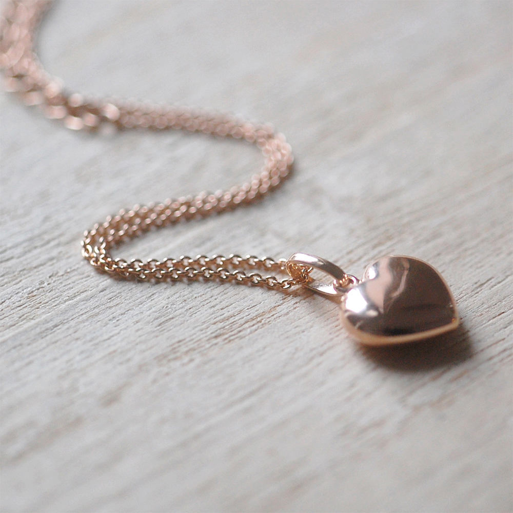 Puffed Rose Gold Heart Necklace