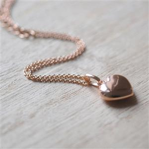 Puffed Rose Gold Heart Necklace | Gifts for Her | MyGiftGenie