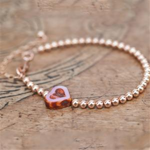Rose Gold Bracelet With Pink Glass Heart | MyGiftGenie