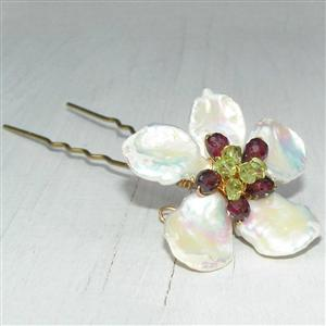 Garnet Keishi & Peridot Pin | Luxury Hair Pin | MyGiftGenie