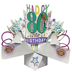 80th Birthday Popup 3D Card | MyGiftGenie
