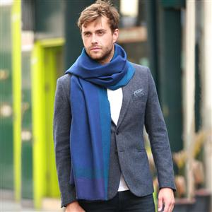 Blue Handwoven Textured Merino Wool Scarf | MyGiftGenie