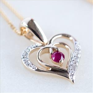 Ruby & Diamond Gold Heart Necklace | Gifts for Her | MyGIftGenie