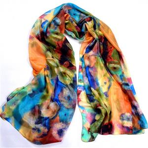 Multicoloured Floral Silk Scarf | 12th Anniversary | MyGiftGenie