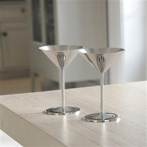 Pair of Stainless Steel Cocktail Glasses