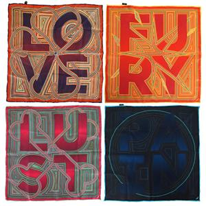 Four Letter Words Silk Pocket Squares x 4