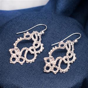 Cascade Silver Lace Earrings | 13th Anniversary | MyGiftGenie