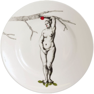 Eve with her red apple wall hanging plate