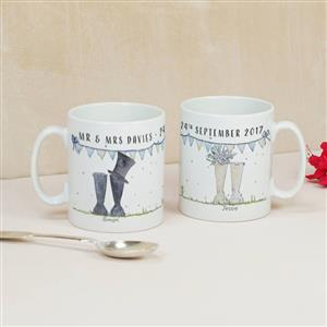 Personalised Wedding Welly Boot Mug Set | MyGiftGenie