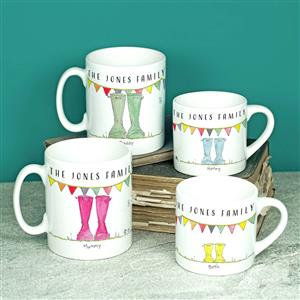 Personalised Set Of Welly Boot Family Mugs | MyGiftGenie
