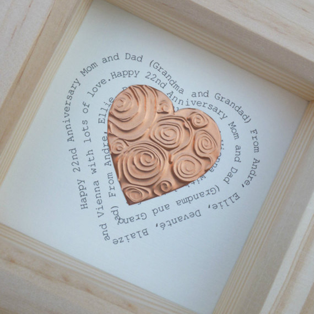 Personalised Framed Copper Heart Word