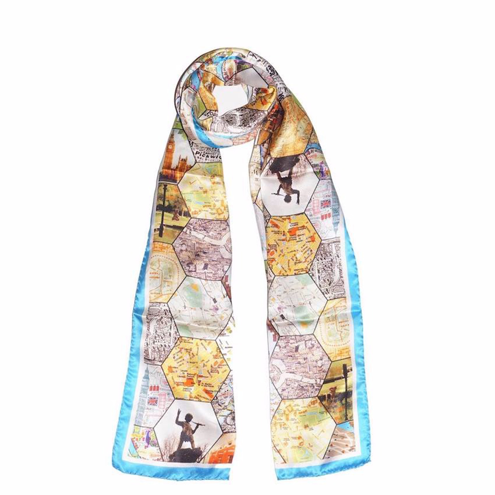 London Attractions 100% Silk Scarf