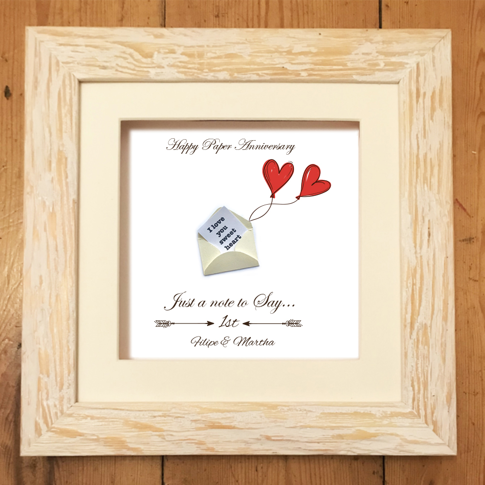 Personalised Paper Print 1st Anniversary Mygiftgenie