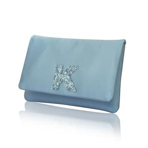Monogram Glitter Initial Satin Small Clutch Purse | Gifts for Her | MyGiftGenie